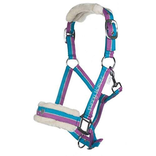 HKM - Cabestro para caballos de Funny, color violeta, azul y plateado