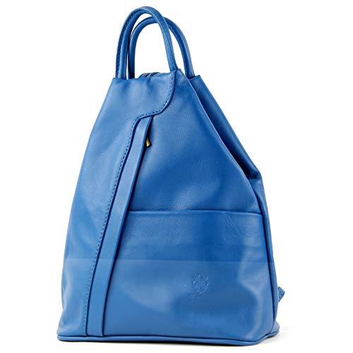 modamoda de - T180 - ital Bolso mochila para mujer en piel napa, Color:azul Capri
