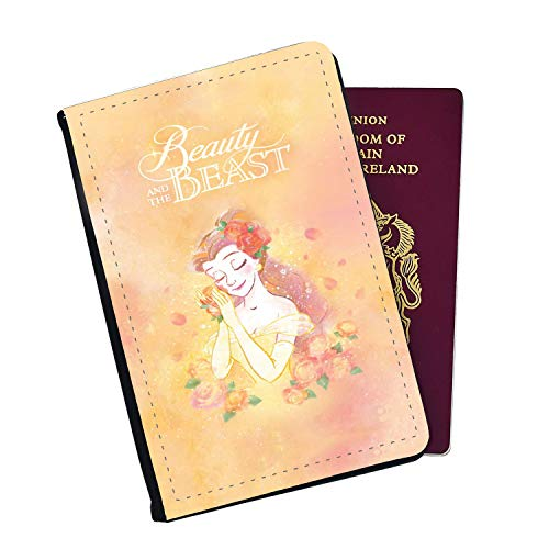 Beauty and The Beast Disney Princess Belle Passport Cover Wallet Style with Card Insert Pockets