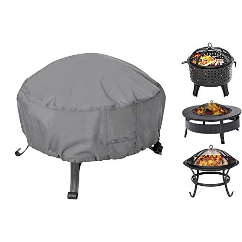 Fire Pit Cover Round, Fit for 32-36 Inch Metal Fire Pit, Waterproof Weatherproof UV All-Season Protection with Thick PVC Coating (Color : Gray, Size : S-Diameter82cm/32inch)