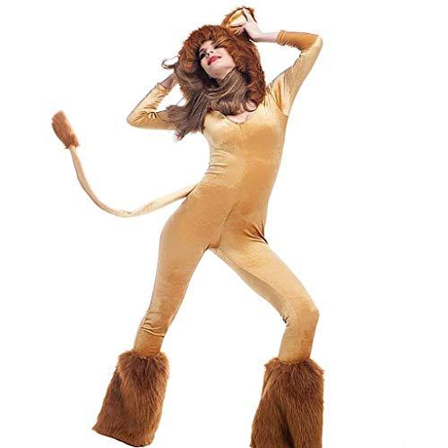 Todos los Santos Disfraz de Halloween for adultos de Hallowmas, disfraz de cosplay de animales de circo femenino, mono de piel de terciopelo + zorro con oreja + cola + cubierta de pie Día de todos los