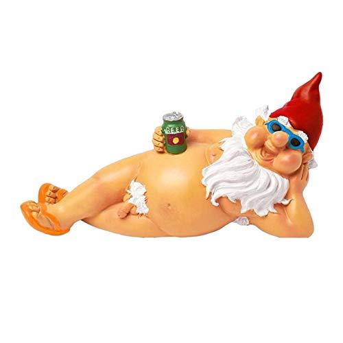 happygirr Statua da giardino divertente e non vestita, statuetta da giardino Naughty GNOME in...
