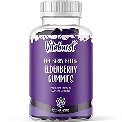 Vitaburst Elderberry Gummies with Vitamin C and Zinc - Immune Support Gummies for Adults and Kids - Vegan Gummy Vitamins - Non-GMO, Gluten Free, 3rd Party Tested, Made in The USA - 60ct