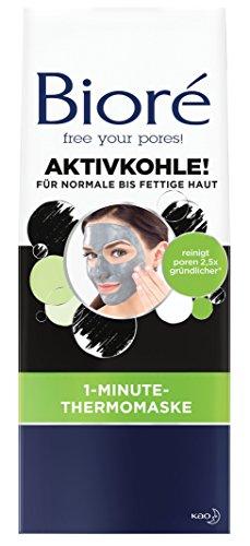 Bioré 1-Minute-Thermo-Maske - mit Aktivkohle - 2 x 4 Stück - Tiefenreinigung von Poren in 1 Minute