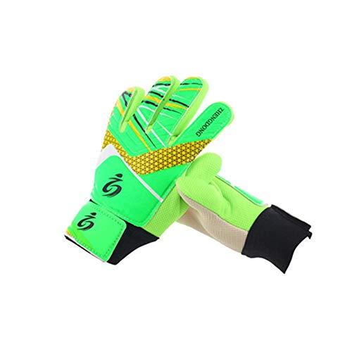 Kinder Fußball Torwarthandschuhe,Fußballtraining Torwart Handschuhe mit Fingerspitzen sichern,Kinder Teenager verdickt Latex tragen beständig reduzieren Auswirkungen rutschfeste Handschuhe Geschenk