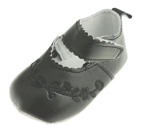 Glamour Girlz Adorables chaussons d'été pour bébé fille avec broderies florales pour landau Noir 0-3 mois