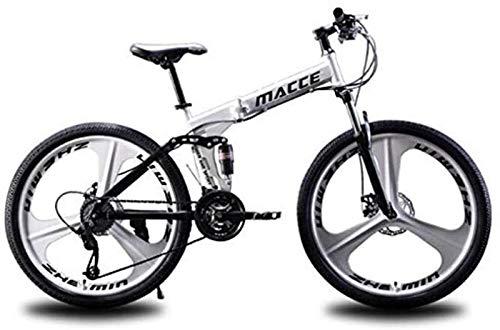 RDJSHOP Bicicleta de Montaña Plegable para Adultos, Bicicleta 24/26 Pulgadas con Freno de Disco Doble 21 Velocidades Estructura de Acero Al Carbono Bicicleta MTB con Rueda de 3 Radios,White-26inch