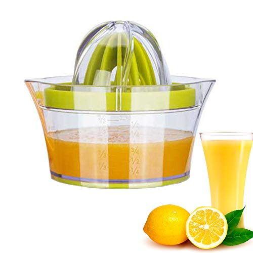 Hand Juicer, Caliamary Citrus Orange Lemon Juicer Manual Hand Squeezer, Multifunctional Portable Hand Juicer Press with Grater, Reamers and Built-In Measuring Cup (Green)