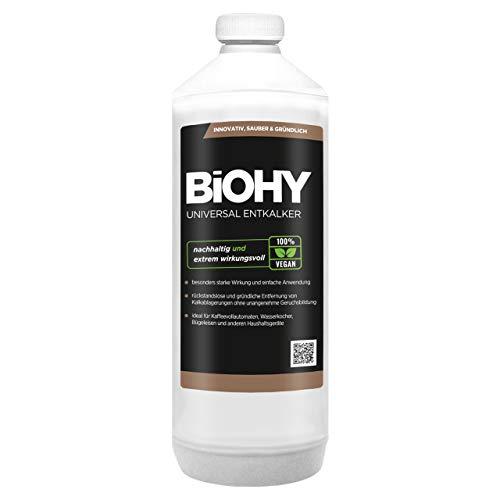 BIOHY Universal Flüssig-Entkalker 1 Liter Flasche | Konzentrat für ca. 20 Entkalkungsvorgänge/Flasche | Kompatibel mit allen Kaffeevollautomaten, Espressomaschinen, wie z.B. DELONGHI, SAECO, PHILIPS