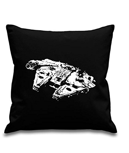 Blue Ray T-Shirts Millenium Falcon - Han Solo - Star Wars - Black canvas 8oz Cushion Cover 45x45cm square, concealed zip