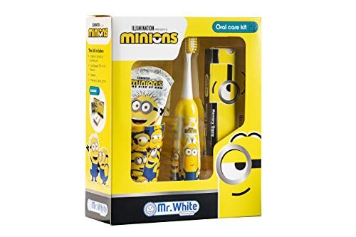 MR WHITE - MINIONS Set Regalo - igiene dentale composto da: Spazzolino a batteria, dentifricio gusto menta dolce 75ml, bicchierino e set di memory card