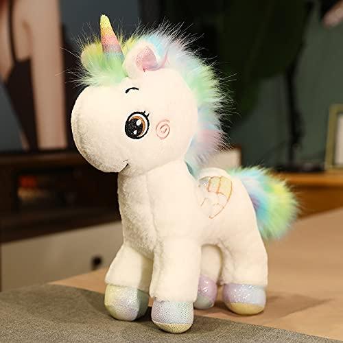 KXCAQ 35cm Lovely Colorful Unicorn Plush Toys Rainbow Unicorn Horse Pillow Muñecas rellenas Cojín para niñas Regalo de cumpleaños Regalo White35cm