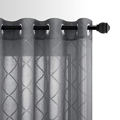 Grey Diamond Pattern Linen Like Sheer Curtain 52 x 63 Inch Length for Study Room Setting Room Quatrefoil Lightweight Home Decor Drapes Grommet Window Curtains for Bedroom 1 Pair