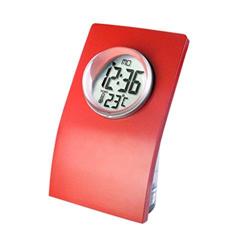 MagiDeal NEU Flasche -Design Wasserbetriebene Uhr Tischuhr (24-Stunden Mode) mit Datum und Temperatur Anzeigen, Eco-Friendly Clock - Rot