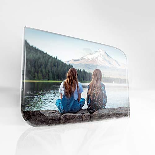 Gifty Lab Cristallo Fotografico Rettangolare Personalizzato con Foto e Angoli arrotondati, Senza Base- 10x15 cm.