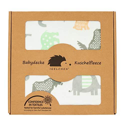 Antiallergische Babydecke - Weiche Premium Kuschelbabydecke zum Spielen und Ertasten (70x100 cm, Hellblau - Zoo)