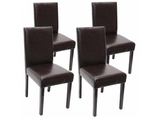 madera 4X Stühle schwarz beschichtetes Leder Stuhl Kolonial Polsterstuhl