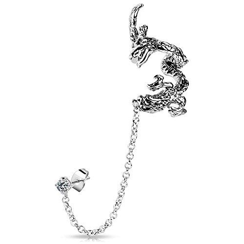 Bungsa® Drachen Ear Cuff Ohrklemme mit Kette silber für Damen & Herren (Ohrstecker Conch Fake Piercing Ohrringe Ohrclip Ohrschmuck Damen Frauen Herren Mode)