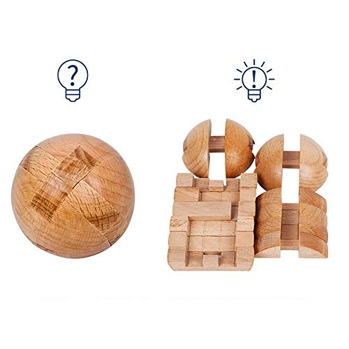 YYR Wooden Puzzle Magic Ball, Intelligence Game Brain Teasers Toy, Stress Relief and Anxiety, Best Gifts for Adults Kids