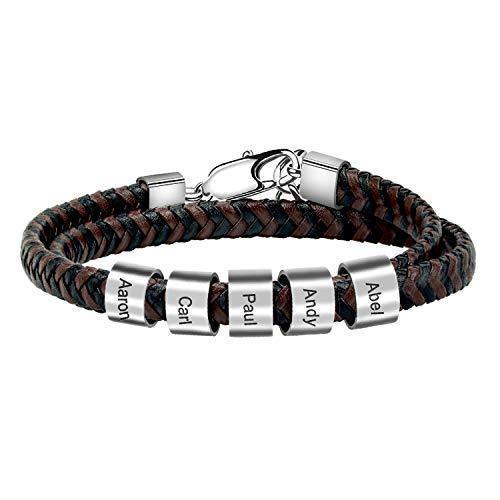 Casisto.J Personalisiertes Armband Lederarmband Herren Personalisierter Armband Herren Männer Leder Silber Edelstahl Geschenkbox Mit Namen Gravur für Männer Frauen (5 Charms)