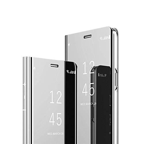 MRSTER J4 Core Hülle Clear View Standing Cover, Spiegel Handyhülle Schutzhülle Flip Hülle Schutz Tasche mit Standfunktion 360 Grad hülle für das Samsung Galaxy J4 Core J410. Flip Mirror: Silver