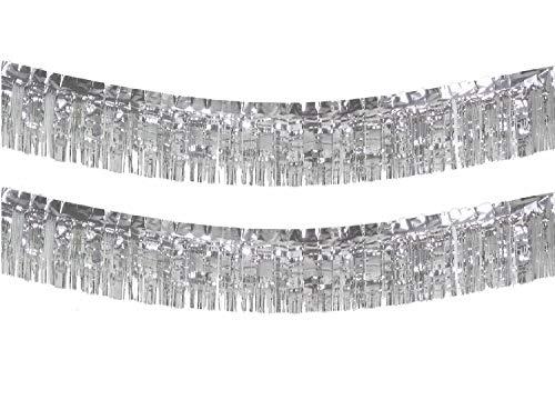 10 Feet Long Roll Silver Foil Fringe Garland - Pack of 2   Shiny Metallic Tassle Banner   Ideal for Parade Floats, Bridal Shower, Bachelorette, Wedding, Birthday   Wall Hanging Fringe Garland Banner