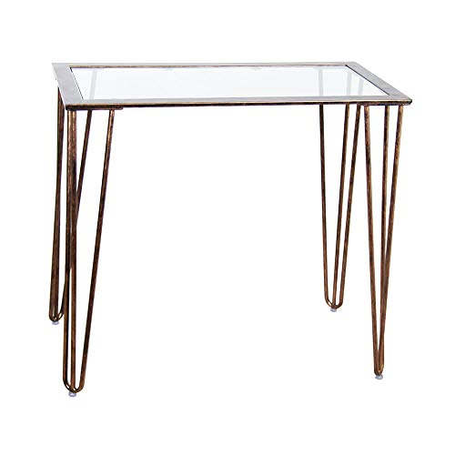 CANDIKO Small Glass Vanity Table - Antique Gold