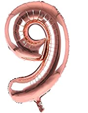 Rose Gold Party Decoration Foil Number Balloons For Birthday, Wedding party (9) 35 inch