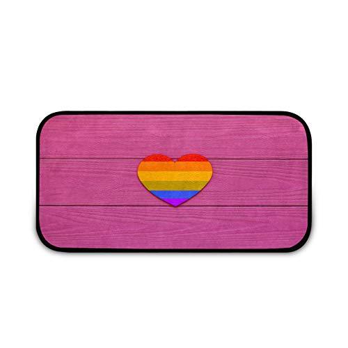 LGBT - Felpudo con forma de corazón y arco iris, fácil de limpiar, antideslizante, para patio, puerta delantera, entrada, garaje, cocina, baño, lavandería, todo tipo de clima, interior/exterior