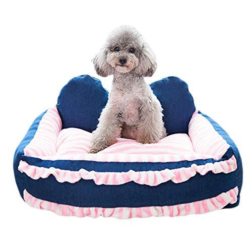 LSM Hundebetten Blaues Hundebett mit Schleife - Rosa Hundebetten Mit Herausnehmbarem, Waschbarem und Rutschfestem Boden - Princess-Bett für Großen und Kleinen Hund Zum Schlafen (Size : 55×65cm)