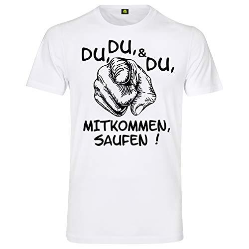 Du Mitkommen Saufen T-Shirt | Alkohol | Bier | Freunde | Party | Wodka | Vodka Weiß M