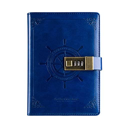 Diario Cuaderno con Lock Bloc de Notas Contraseña Combinación Cerradura Notebook Secret Journal Writing Puña PU Regalo de Estilo marrón para Oficina Sketchbook (Color : C)