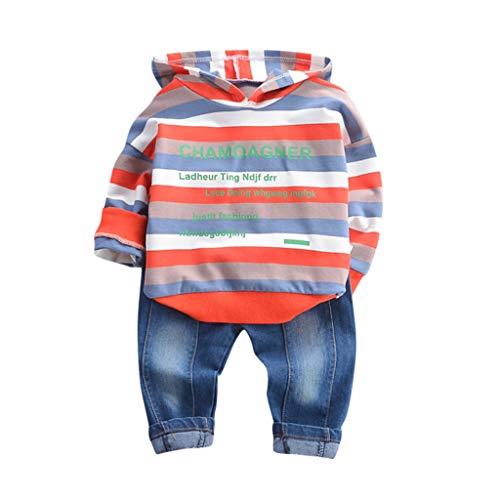 Kinderkleidung 2 stück Set Kleidung Kleinkind feiXIANG Brief drucken Sweatshirt mit Kapuze Tops Hosen Jungen Langarm Outfits (G-Rot, 90)