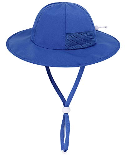 Simplicity Foldable Toddler Boys Royal Blue Sun Hat with Chin Strap, Royal / 12-24 Months