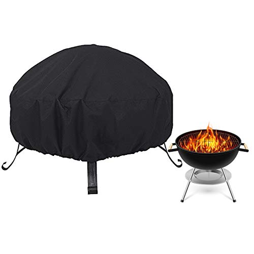 Flantor Fire Pit Cover, Outdoors Round Fire Pit Cover 600D Firewood Rack Cover with Heavy Duty Waterproof Polyster