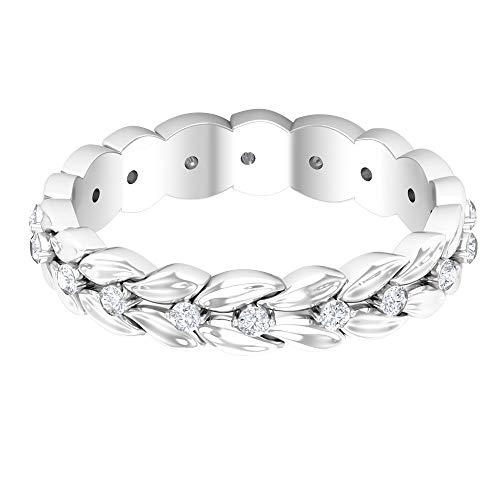 Anillo floral grabado, anillo de boda único, anillo de declaración de novia, anillo de diamante redondo HI-SI 1/4 ct, anillo de aniversario antiguo, joyería vintage, 18K Oro blanco, Size:EU 59