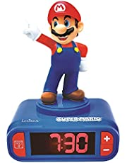 LEXIBOOK- Nintendo Super Mario - Reloj Despertador con Pantalla LCD Digital, quitamiedos niño, Azul/Roja, Multicolor (RL800NI)