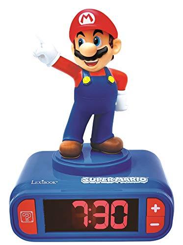 LEXIBOOK- Nintendo Super Mario - Reloj Despertador con Pantalla LCD Digital, quitamiedos niño, Azul/Roja (RL800NI)