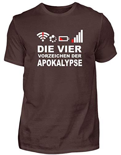 Die Vier modernen Vorzeichen der Apokalypse. Netz Weg, WLAN Weg, Akku leer, kein GPS - Herren Shirt -M-Braun