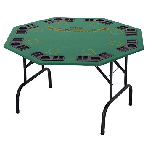 "Soozier 47"" 8 Player Folding Octagon Poker Table Blackjack Poker Game with Cup Holders - Green"