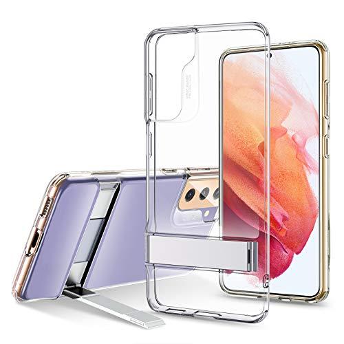 ESR Cover con Cavalletto in Metallo Compatibile con Samsung Galaxy S21, Silicone Sottile Cristallino, Supporto Verticale e Orizzontale, Trasparente