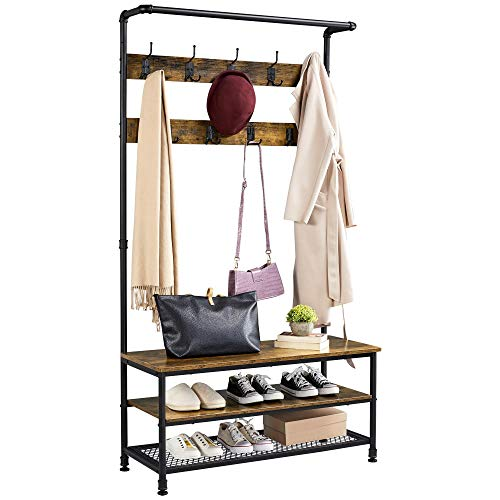 YAHEETECH Coat Rack 3-in-1 Hall Tree with Shoe Storage Bench and 2-Tier-Shelf and 23 Hooks,72'' Large Size Wood Look Accent Funiture for Entryway Hallway, Metal Frame, Rustic Brown