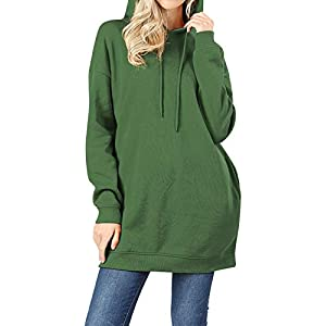MixMatchy Women's Casual V-Neck Pocket Loose Sweatshirt Tunic