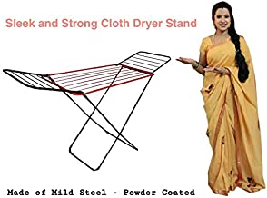 Celebrations Fast Dry - Steel Sturdy and Sleek Cloth Dryer Stand for Drying All Kinds of Indian attires(Red)