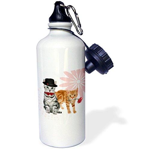 3dRose wb_127596_1 Wasserflasche, niedliche graue Mütze mit Fliege und orangefarbener getigerter Nelke, für Muttertag, Sport, 525 ml, Aluminium, Weiß