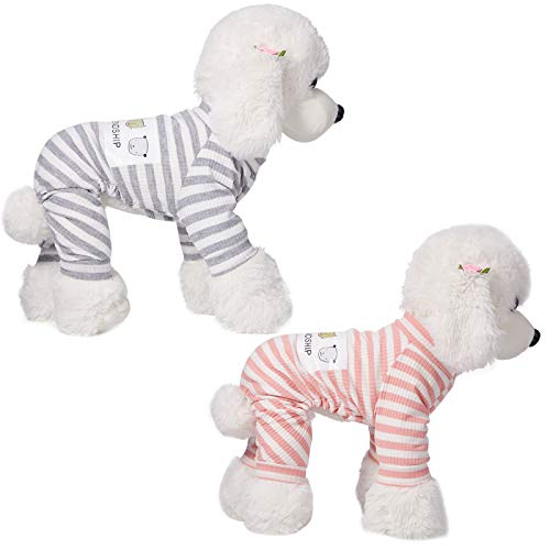 2 Pieces Dog Pajamas Striped Pet Jumpsuits Dog Onesies Long Sleeves Pet Pajamas Cute Dog Apparels Soft Pet Clothes for Puppy Small Dogs (L, Pink, Gray)