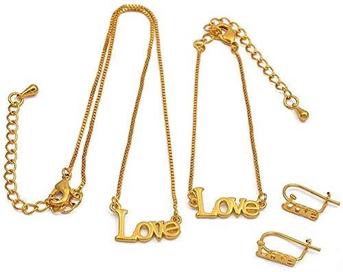 CAISHENY Love Set for Baby Collar de 30Cm / Pulseras de 13Cm Pendientes para niños pequeños Joyas de Color Dorado Regalos para bebés