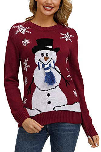 Pink Queen Unisex Ugly Christmas Xmas Pullover Sweater Jumper Red Snowman L - http://coolthings.us