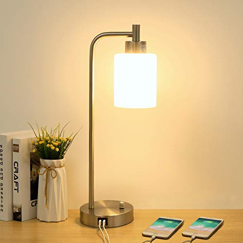 Industrial Table Lamp with 2 USB Charging Ports, Boncoo Stepless Dimmable Bedside Night Stands with Glass Shade Silver Metal Base Vintage Desk Lamp...