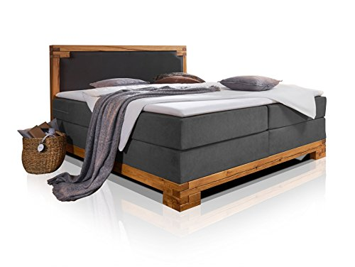 moebel-eins BELLAMIE Boxspringbett Hotelbett Bett amerikanisches Bett mit massivem Holzrahmen 7-Zonen Taschenfederkernmatratze 200 x 200 cm Härtegrad 3,200 x 200 cm